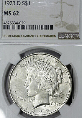 1923-D MS62 Peace Silver Dollar $1, NGC Graded!