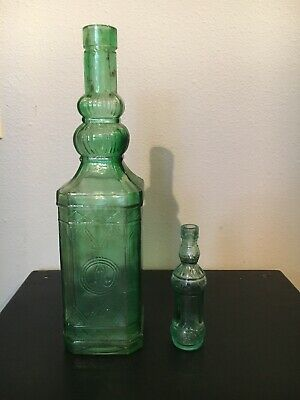 Two Green Glass Bottles Possibly Antique Very Cool Vintage 12 In And 5  In.