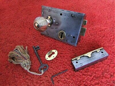 SALVAGED VICTORIAN DOOR RIM LOCK  BRASS HANDLE  KEEP  KEY - related letterbox