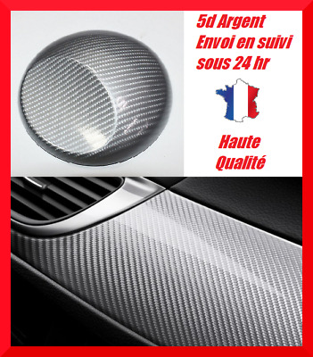 film covering carbone 5D gris argent thermoformable  brillant 30 x 21.5 cm