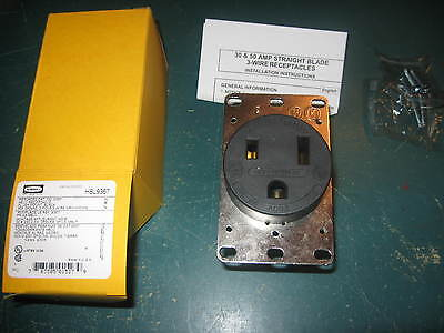 """"""" New in Box """" Hubbell Straight Blade Receptacle HBL9367 50A 250V 2 Pole 3 Wire"""