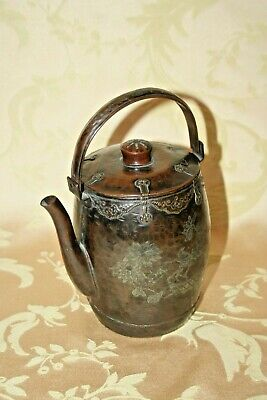 """Antique Hand Hammered & Etched Signed Chinese Copper 6"""" Teapot w/ Silver Overlay"""