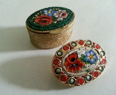 Vintage Micro Mosaic Oval Poppy Daisy Flower Brooch/Pin  And Pill Box Beautiful