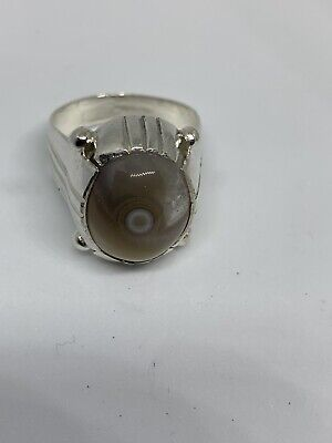 Yemeni Mens Grey Agate Aqeeq Stone Ring Unique  Old Silver