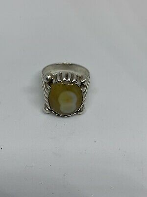 Yemeni Mens Yellow Agate Aqeeq Stone Ring Unique  Old Silver