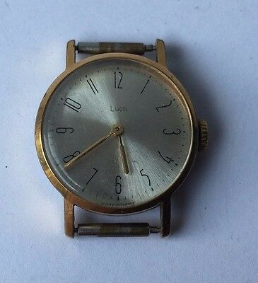 Vintage Collectible Russian Communist USSR Gold Plated Women's Wristwatch Luch