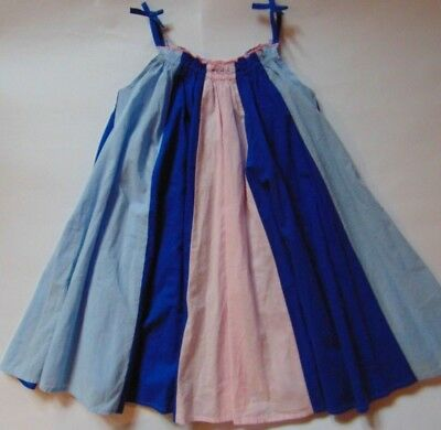 M&S Girls Pink & Blue Responsibly Sourced Cotton Panel Dress Age 2-3 3-4 4-5