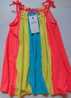 M&S Girls Pink Yellow & Blue Panelled Swing Towelling Dress Age 2-3  3-4