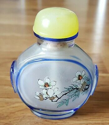 Chinese reversed painted glass vintage Victorian oriental antique snuff bottle B