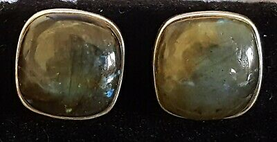 Sterling silver & agate vintage Art Deco antique square earrings