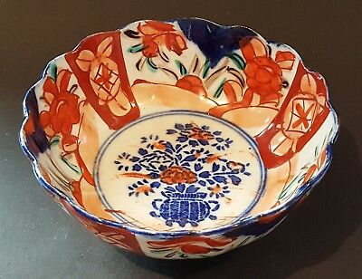 Japanese Imari vintage Victorian Meiji period oriental antique scalloped bowl