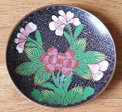 Chinese cloisonné vintage Victorian oriental antique small round dish plate C
