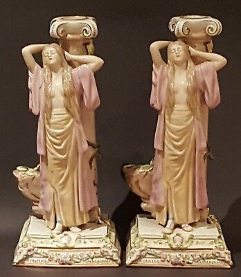 French Sevres vintage Victorian antique pair Neo Classical figural candlesticks