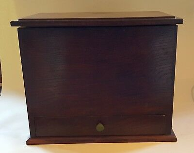 Oak wood vintage Victorian antique large smokers pipe box