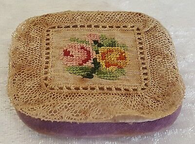Lace work & embroidery vintage Victorian antique pin cushion
