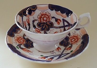 Gaudy Welsh red & blue Imari design vintage Victorian antique cup & saucer duo