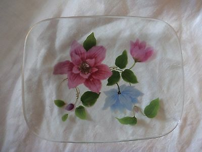 Retro Chance glass dish with coloured transfer clematis Pilkington England
