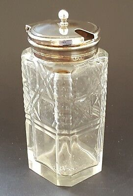 Clear glass & silver plate vintage Victorian antique mustard preserve pot jar