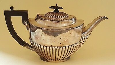 Silver plate electroplate vintage Victorian antique Mappin & Webb ribbed teapot