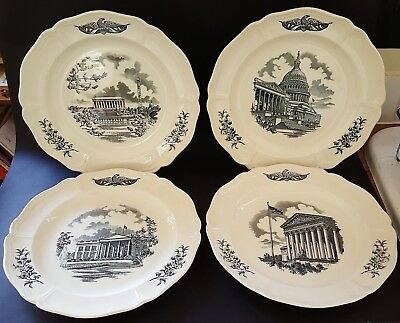 Wedgwood vintage Art Deco antique set of four USA The Federal City wall plates