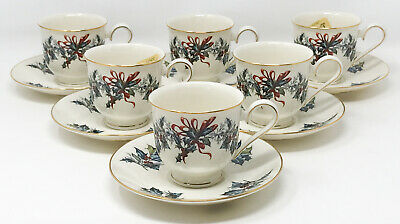 Lot 6 Lenox Winter Greetings Tea Cup & Saucer Unused SCP