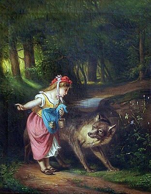 """French Oil Painting EUGENE LEJEUNE 'Red Riding Hood'  30"""" x 25"""""""