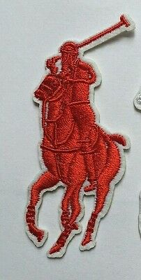 2 x Ralph Lauren Polo Embroidered logo Sew/Iron-on Patch. NEW3 cm x 5cm RED