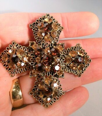 Vintage Brooch Amber Tone Cranberry Red Glass Rhinestones Celtic Cross Gold Tone