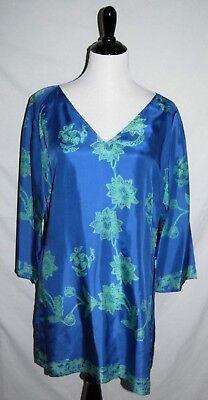 ba8f8a803d4 Soft Surroundings Petite Blue Green Floral Silk Tunic Top Womens PM Medium