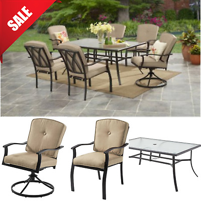 Astounding Garden Dining Set 7 Piece 2 Swivel Chairs Glass Table Ncnpc Chair Design For Home Ncnpcorg
