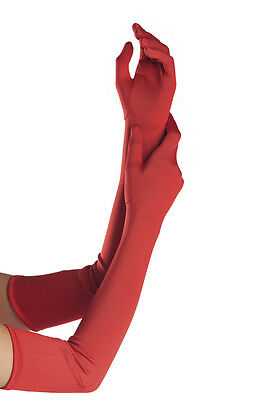 Sexy Red or Black Polyester Gloves. Wrist, Mid or Elbow Length.