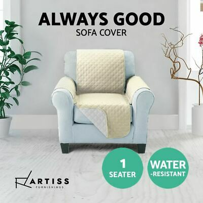 Water Repellent Quilted Anti-Slip Sofa Cover 1-Seater Slipcover Protector Khaki