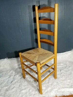 Antique Shaker Style Ladder Back Accent Chair Woven Seat (2 available)