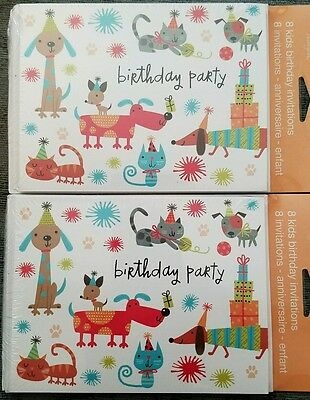 2 packs of Tender Thoughts Boys or Girls Birthday   invitation cards dogs cats.