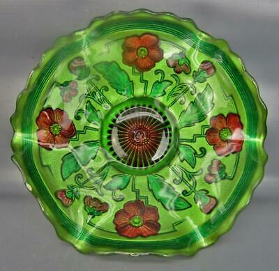 Northwood BLOOMS & BLOSSOMS Goofus Type Decorated EAPG Green Ruffled Bowl 6520