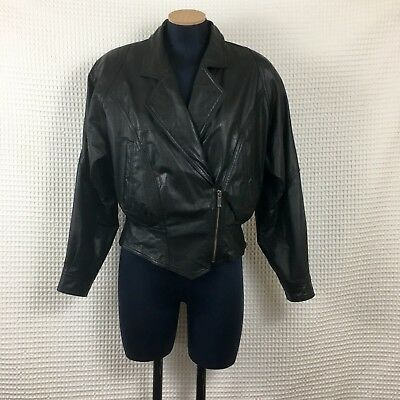 cdedc3b7d0fc7b Vintage Wilsons Womens Leather Jacket Black Cropped Moto Corset Glam Rock S
