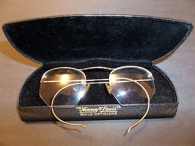 Vintage Shuron 1/10 12K Gf Glasses & Harvey & Lewis Guild Opticians Case