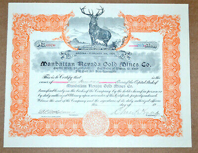 Manhattan Nevada Gold Mines Co. antique stock certificate - scam