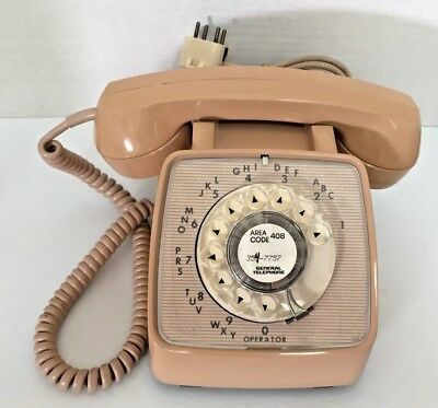 Vintage Rotary Dial Telephone  phone GTE Automatic Electric Model 80 Beige / Tan
