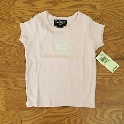 RALPH LAUREN infant girls XL 18-24m S/S PINK T-SHIRT TEE American Flag