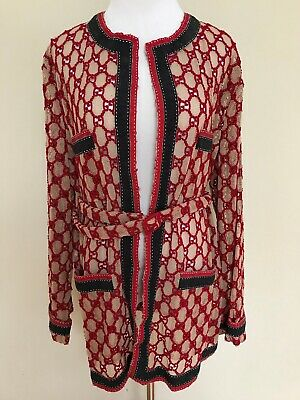 7de406e9b NWT Gucci GG Logo Red Embroidered Macrame Oversized Belted Jacket Sz 42 6  $3700