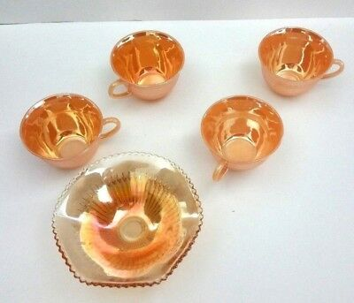 Lot of 4 Fire King Peach Luster Coffee Cups & 1 Orange Carnival Glass Candy Dish