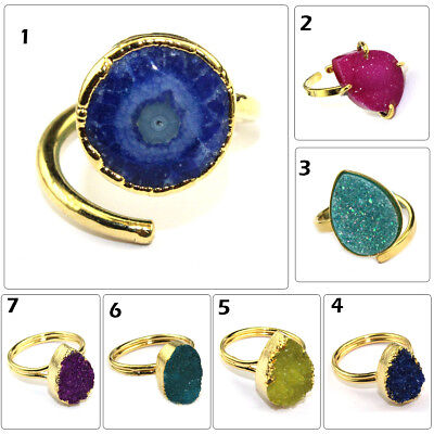 Royal Natural Solar Quartz Agate Druzy 24k Gold Plated Adjustable Ring Jewelry