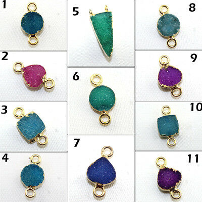 Tiny Natural Agate Druzy 24k Gold Pated Connector Making Designer Jewelry