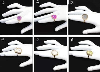 Natural Solar Quartz Geode Druzy Gold Electrplated Prong Adjustable Ring Jewelry