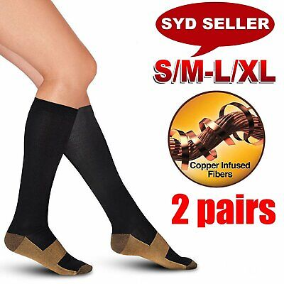 2 Pairs Miracle Copper Compression Socks Anti Fatigue Unisex Travel DVT Comfort