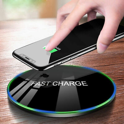 Wireless Charger Qi Fast Charging Metal Pad Dock for Samsung S8 S9 S10 Plus S7