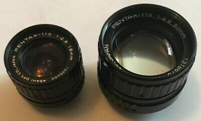 2 x Vintage Pentax-110 1:2.8 Camera Lenses, 50mm & 18mm, Asahi Optical Co. VGC