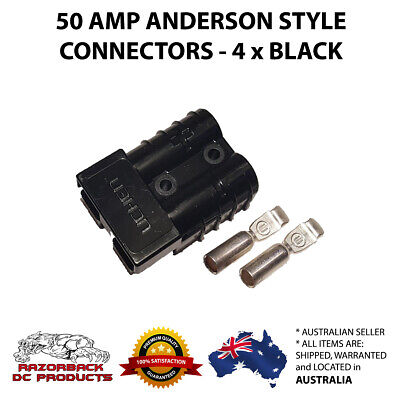 4 X Black Anderson Style Plugs 50 Amp Premium Heavy Duty 6Awg Pins