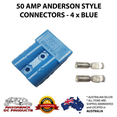 4 X Blue Anderson Style Plugs 50 Amp Premium Heavy Duty 6Awg Pins